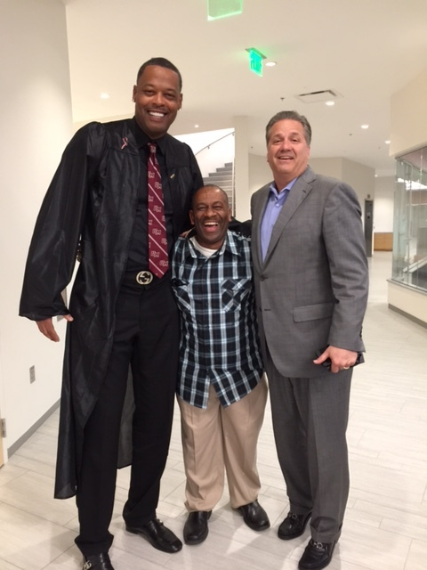 Marcus Camby, Stevie J, Coach Calipari at UMASS Graduation 05-17